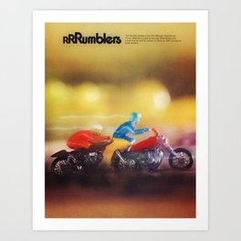 1972 Hot Wheels Rumblers Toy Motorcycle Catalog Poster Art Print