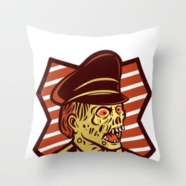 Creepy spooky german zombie general shouts stillgestanden Throw Pillow