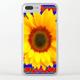 WESTERN BLUE-RED YELLOW SUNFLOWER FLORAL ART Clear iPhone Case