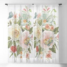 Wildflowers and Butterflies Bouquet  Sheer Curtain
