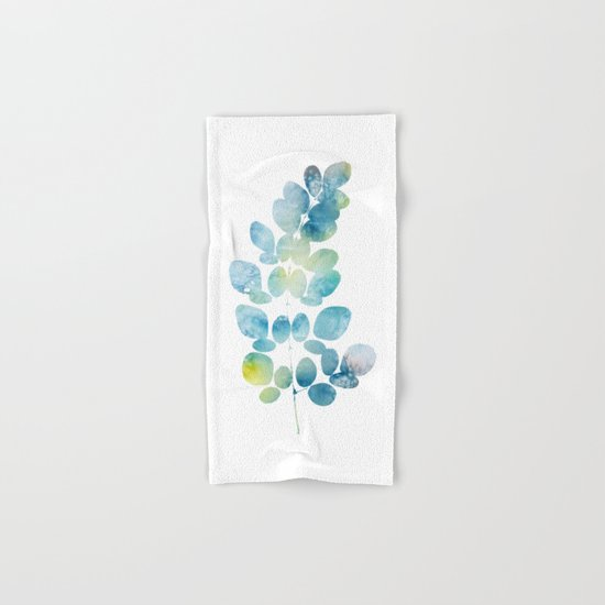 Blue Watercolor Leaves Hand & Bath Towel