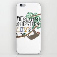 sloths iPhone & iPod Skins featuring Hipsters Love Sloths by Katy Souders