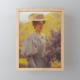 Hans Gude Painting -  Ung Dame Med Syriner 1897    Reproduction   Norwegian Art Framed Mini Art Print