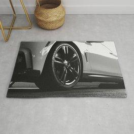 Black Rim Sports Car // White Paint Street Level B&W German Bavarian Motor Automobile Photograph Rug