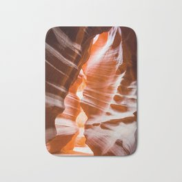 The Passage | Nature Landscape Photography of Wavy Red Rock Formations in Antelope Canyon Arizona Bath Mat
