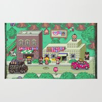 earthbound Area & Throw Rugs featuring Earthbound town by likelikes