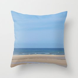 Tracks at Normandy Beach Throw Pillow