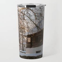 Winter tale in an old Romanian village Travel Mug