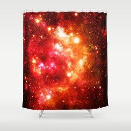 Red Orange Galaxy Nebula Shower Curtain