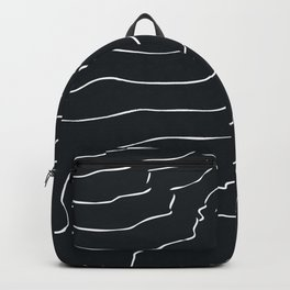 Black and white Mountain contour lines Backpack