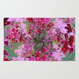 PINK HOLLYHOCK FLOWERS TEAL ABSTRACT GARDEN Rug