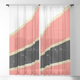 Living Coral, White, Black Marble and Gold Stripes Glam #1 #minimal #decor #art #society6 Sheer Curtain