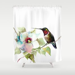 Hummingbird and White Magnolia Shower Curtain
