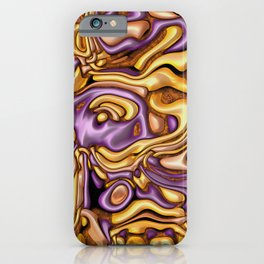 funky melted purple and gold iPhone Case