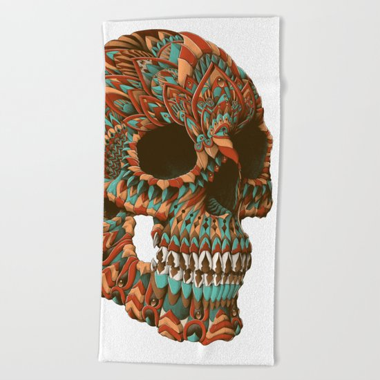 Ornate Skull (Color Version) Beach Towel