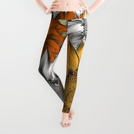 Beautiful pattern from hand drawn sunflowers Leggings