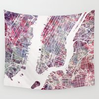 new york map Wall Tapestries featuring new york map by MapMapMaps.Watercolors