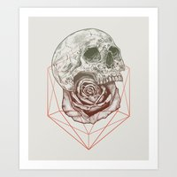 Skull Rose Geo Art Print