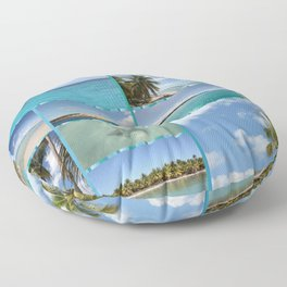 Great Tropical Paradise Caribbean Photo Collage Floor Pillow