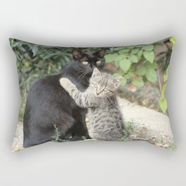 Mommy and me Kitten and Mother Cat Portrait Rectangular Pillow