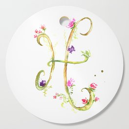 Letter H watercolor - Watercolor Monogram - Watercolor typography - Floral lettering Cutting Board