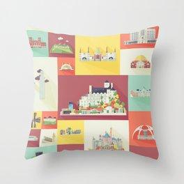 Los Angeles Landmarks Throw Pillow