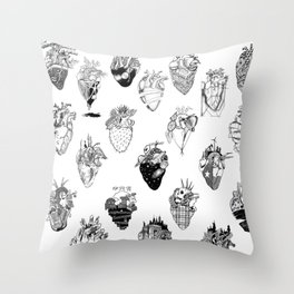 The Anatomy of a Heart Pattern Throw Pillow