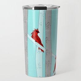 Holiday Forest Cardinals Design Travel Mug