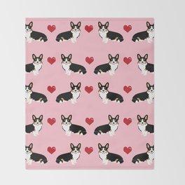 Corgi tri colored welsh corgi dog person corgis love valentines day gifts for dog person Throw Blanket