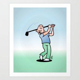 Golf, golfer taking a swing at it. Art Print
