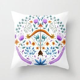 Sagittarius illustration // Hand Drawn Zodiac, Hand Drawn Sagittarius, Folk Art Zodiac Art Print Throw Pillow
