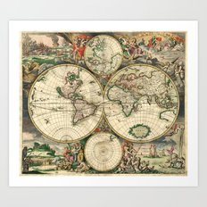 Old map of world hemispheres. Created by Frederick De Wit, 1668 Art Print