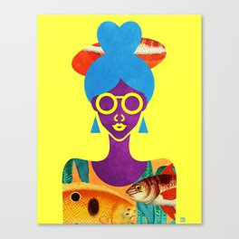 Girl with Sea Monster Shirt Canvas Print
