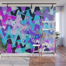 Electric waves, techno abstraction in rich colors, music waves in violet Wall Mural