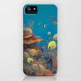 Retro Great Barrier Reef Australia Travel Poster iPhone Case