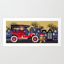 Vintag car in street Art Print