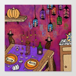 Autumn Table in Candlelight Canvas Print