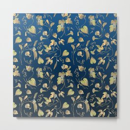 Gold flower vines on classic blue Metal Print