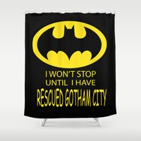 gotham Shower Curtains featuring Gotham City by Veronica Ventress
