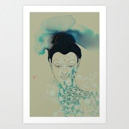 Blue Gautama Buddha Art Print
