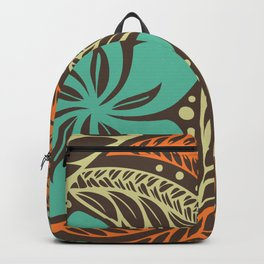 Circular Polynesian Blue Brown Orange Floral Tattoo Backpack