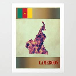 Cameroon Map with Flag Art Print