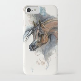 Arabian horse portrait watercolor art iPhone Case