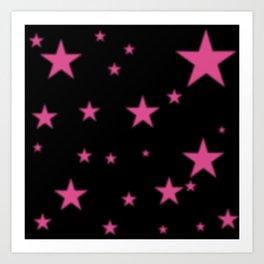 Glowing Pink Stars on Black Art Print
