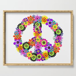 Peace Sign of Flowers Serving Tray