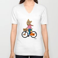 cycling V-neck T-shirts featuring Sam's Cycling by BATKEI