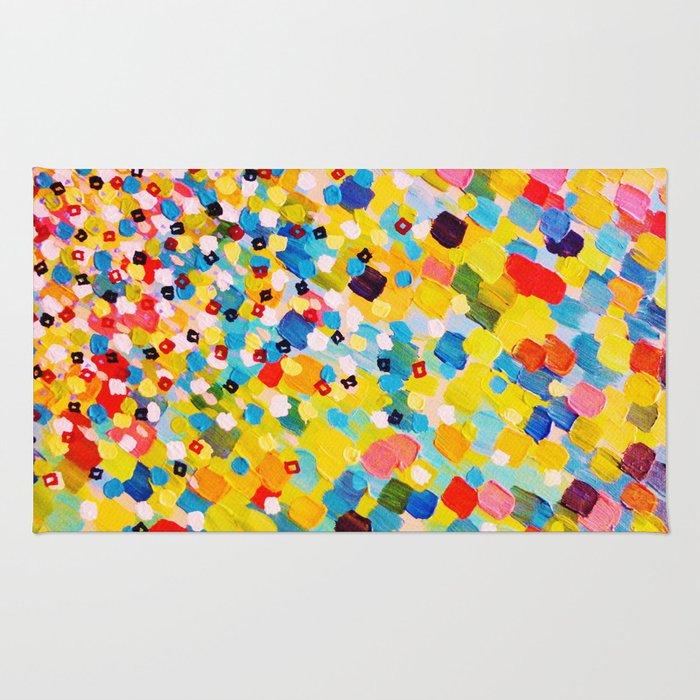SWEPT AWAY 2 - Vibrant Colorful Rainbow Mango Yellow Waves Mermaid Splash Abstract Acrylic Painting Rug