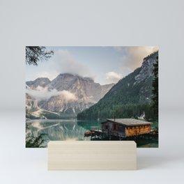 Mountain Lake Cabin Retreat Mini Art Print