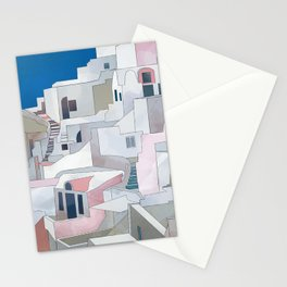 greece houses santorini Stationery Cards