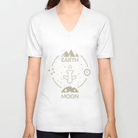 aviation V-neck T-shirts featuring Aviation: Earth to Moon by Imaneeque